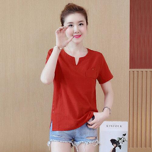 亞麻棉襯衫T恤(3色M~3XL)*ORead*
