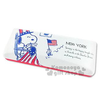 〔小禮堂〕史努比 布質硬殼眼鏡盒《白.美國國旗.紳士帽.糊塗塔克》內附眼鏡布
