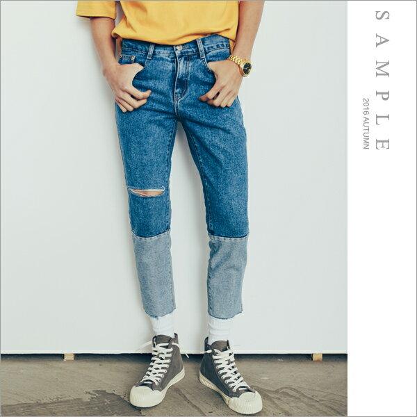 sample:現貨韓國製牛仔褲雙色拼接單刀割【JL18039】-SAMPLE