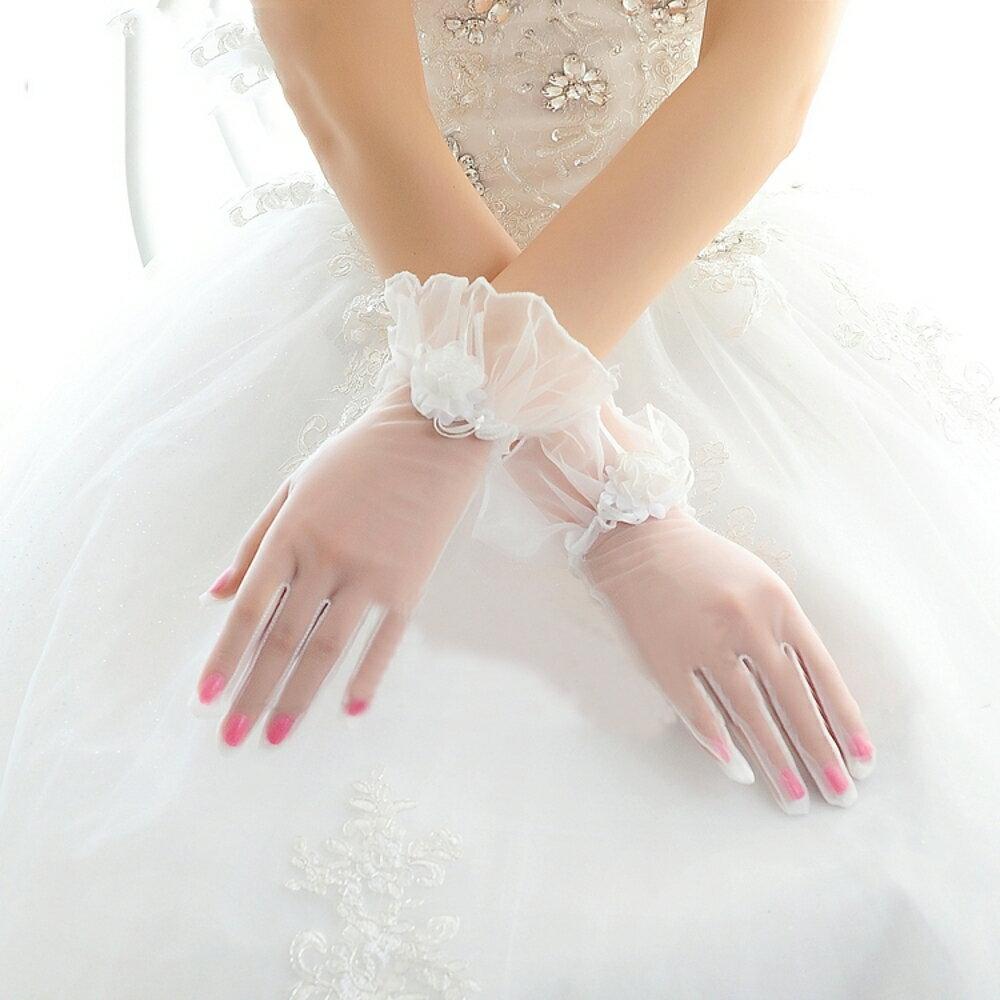 新娘手套  結婚新款婚紗春夏甜美新娘手套婚禮短款白色蕾絲結婚花朵手套 coco衣巷 0