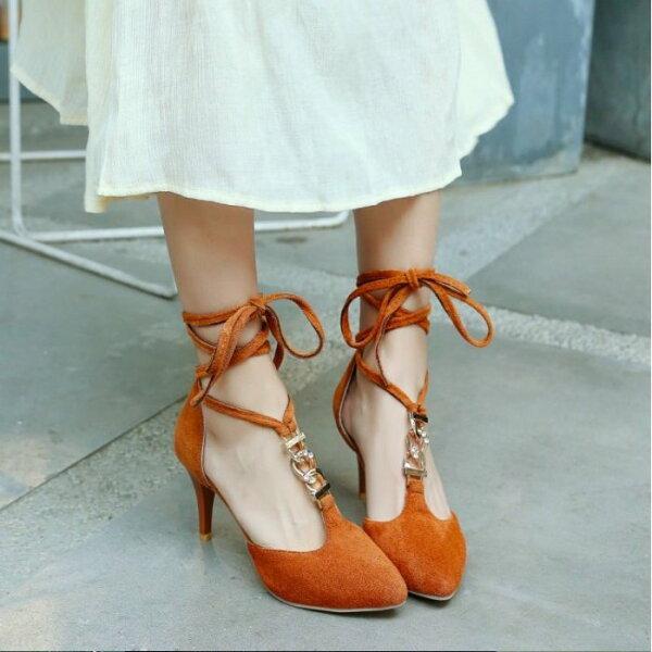 Pyf♥韓版優雅性感T字水鑽鎖鏈尖頭粗跟高跟鞋羅馬式交叉綁帶包頭涼鞋43大尺碼女鞋