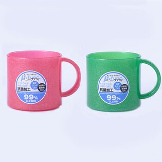 日本製mju-func®妙屋房銀纖維高級抗菌加工潄口杯雙人2件組(粉紅+森林綠)