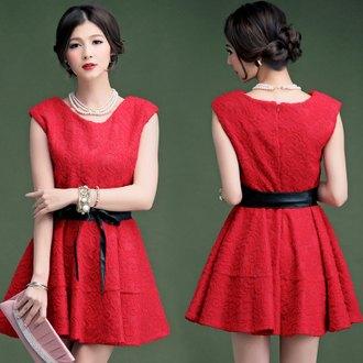 天使嫁衣:天使嫁衣【HLWM8005】紅色中大尺碼歐美香奈兒風蕾絲洋裝小禮服˙現貨