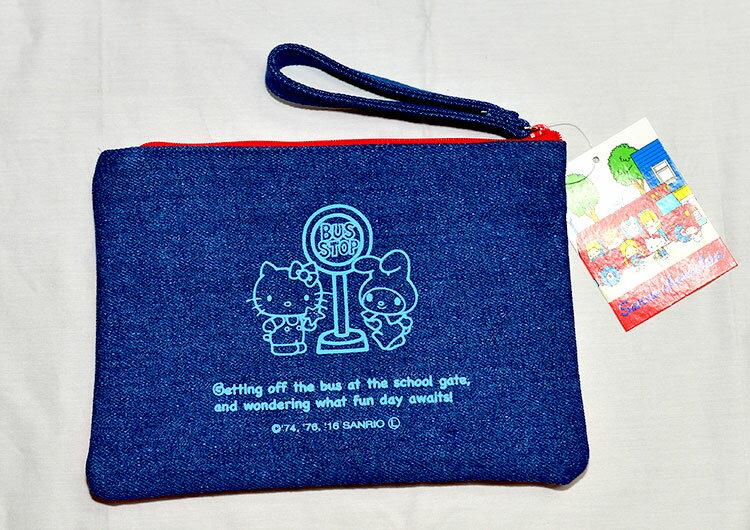 SANRIO三麗鷗家族 丹寧布 收納包 錢包 隨身包 文件袋 筆袋 日本帶回正版商品