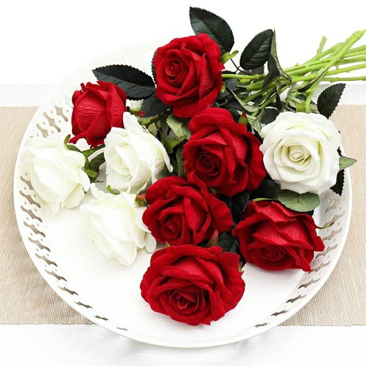 假花 仿真玫瑰花單支 假玫瑰花 客廳裝飾花絨布紅玫瑰仿真花束絹花假花 3