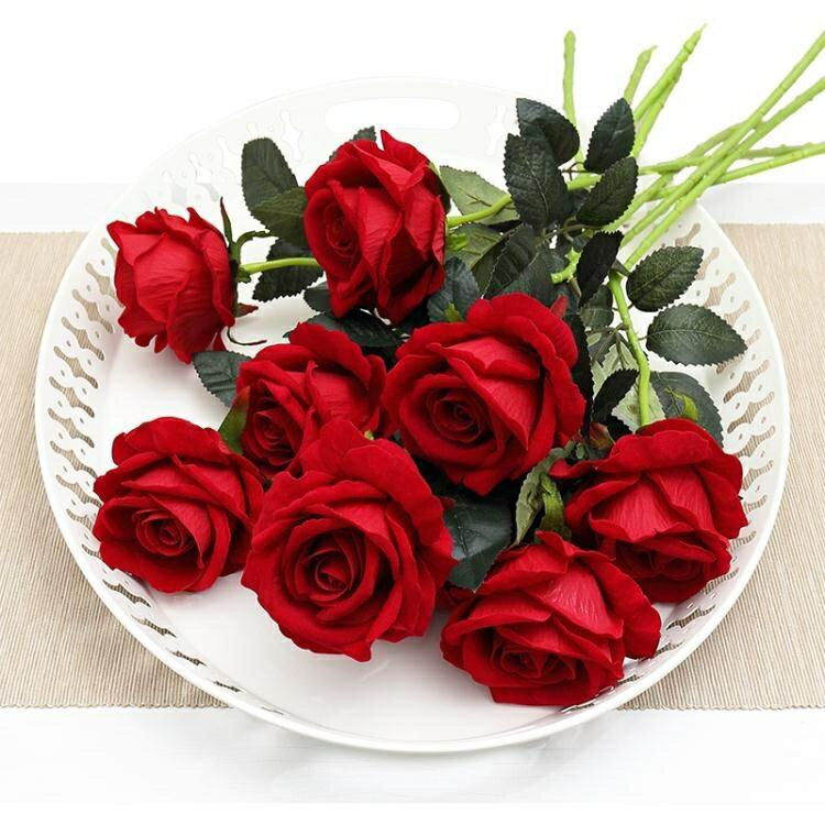 假花 仿真玫瑰花單支 假玫瑰花 客廳裝飾花絨布紅玫瑰仿真花束絹花假花 0