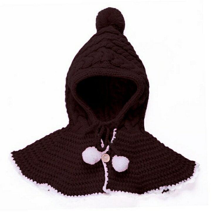 Kocotree◆ 秋冬可愛夢幻女童麻花針織帽手工鉤花披肩帽-咖啡色