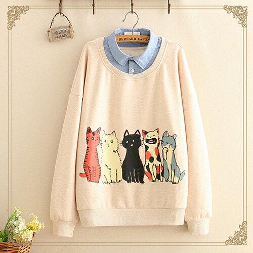 日系森女貓咪印花加絨假兩件衛衣(2色F碼)【OREAD】 1