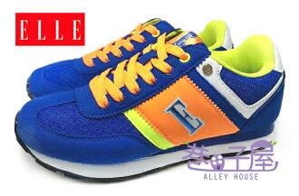 【巷子屋】ELLE 女款經典色輕量復古運動慢跑鞋 [50076] 藍 超值價$498