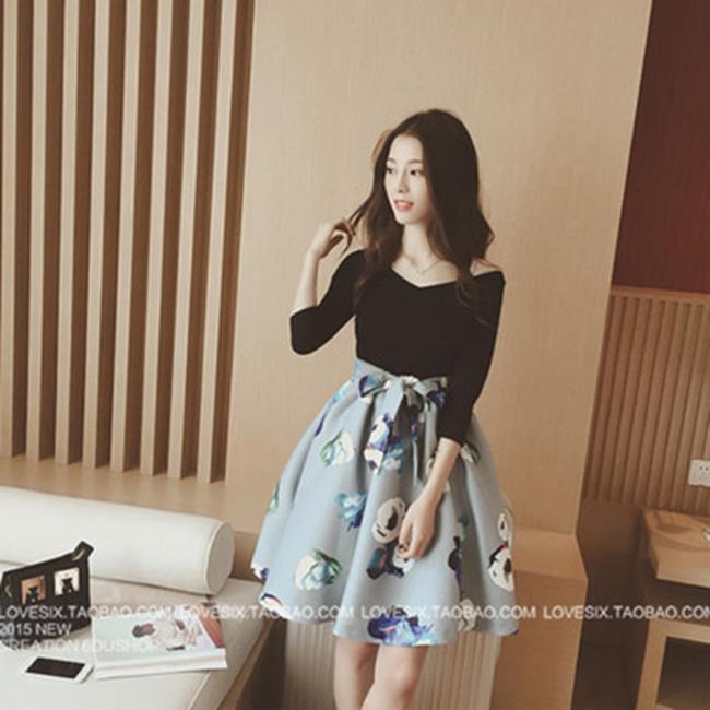 50^%OFF~G017318C~秋裝韓國 V領五分袖花朵腰帶連衣裙女~長袖T洋裝羽絨外套