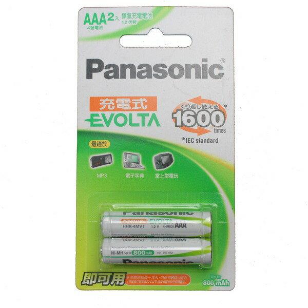 Panasonic 國際牌 AAA-4號鎳氫充電池 800mah/一卡2個入{促299} EVOLTA 低自放鎳氫充電池~可充電約1600次~