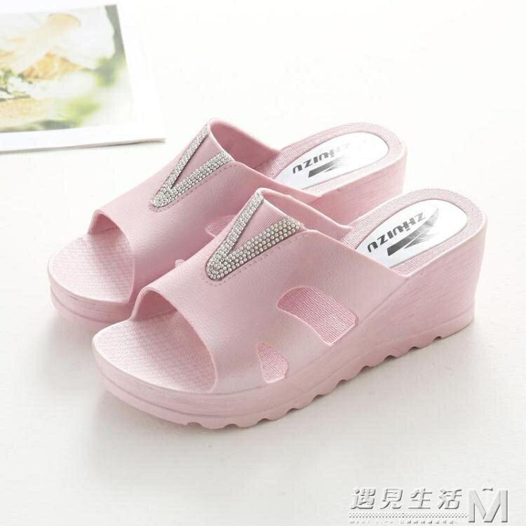 厚底拖鞋女夏室內防滑居家用浴室洗澡高跟厚底楔形夏天女士涼拖鞋外穿