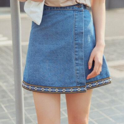 高腰不規則刺繡牛仔半身裙短裙樂天時尚館。預購。[全店免運]