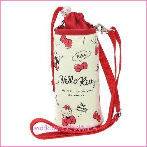 asdfkitty可愛家☆KITTY紅蝴蝶結保冷水壺袋水壺套附背帶-可斜背-發泡內裡.不滴水-日本正版商品