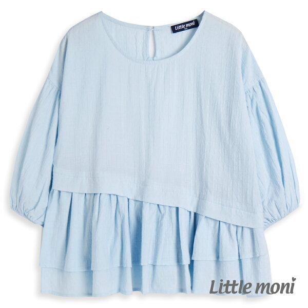 Littlemoni浪漫荷葉下襬襯衫-亮天藍