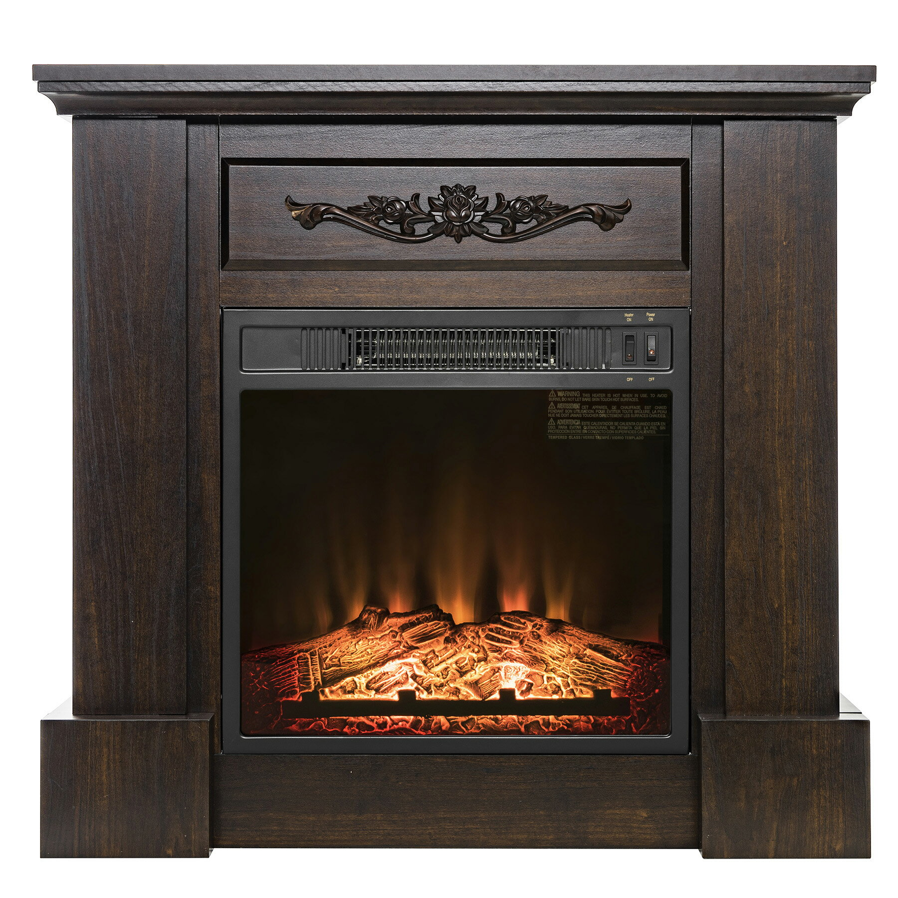 "AKDY 32"" Wooden Mantel Freestanding Insert Electric Fireplace Heater Stove 0"