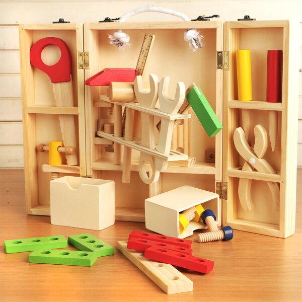 【NG福利品】樂兒學兒童手提工具箱拆裝玩具木製學習積木(MT0464)