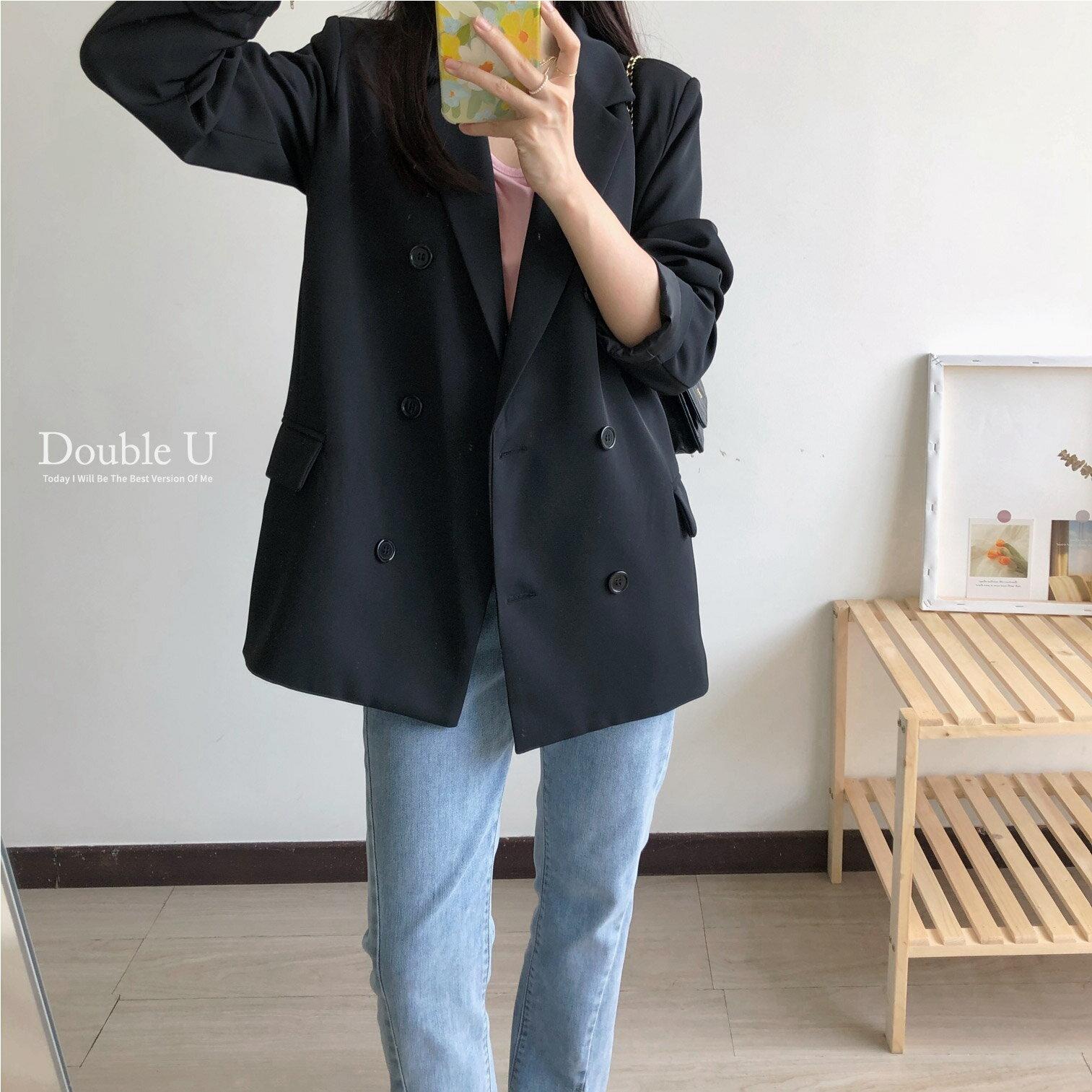 【double U 】現貨 高級感~雙排釦西裝外套2色
