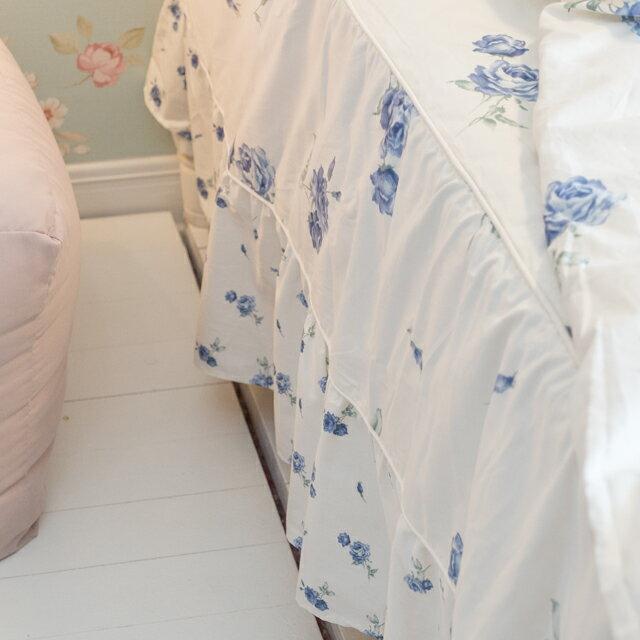 藍莓花園  雙人加大鋪棉床裙三件組 100%精梳棉 台灣製 1