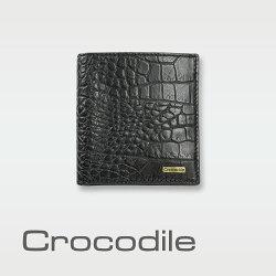 【Crocodile】Croco義大利植物鞣製皮 鱷魚壓紋直式短夾 0103-5006