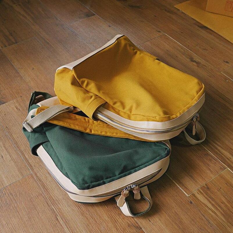 WHITEOAK 超實用多夾層配色backpack帆布包(6色) 7