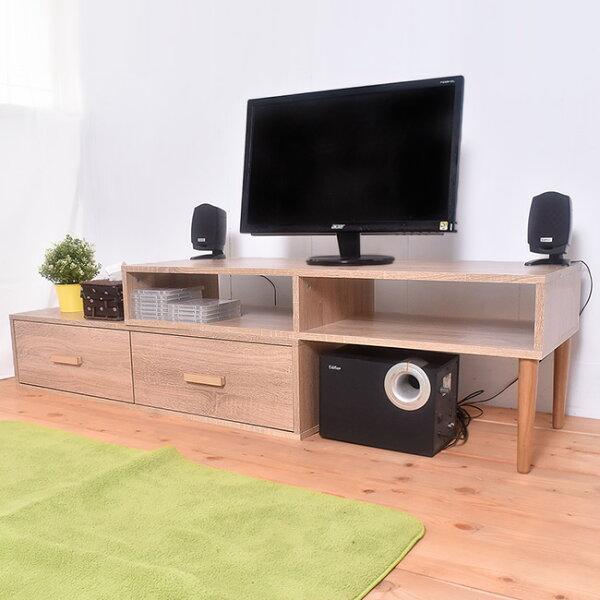 凱堡傢俬生活館:凱堡雙層活動電視櫃組簡易組裝木紋風【P16041】