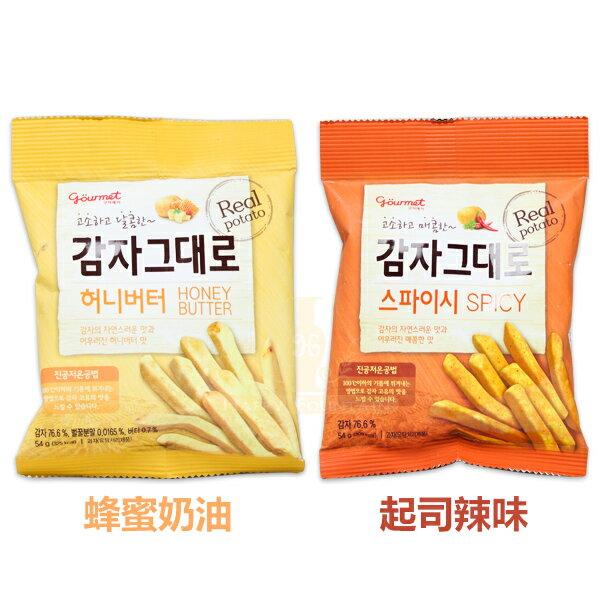 韓國 風味起司辣味/蜂蜜奶油薯條 54g