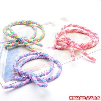 生活小物 雙層打結糖果色螺旋蝴蝶結髮圈 1入 顏色隨機不挑色