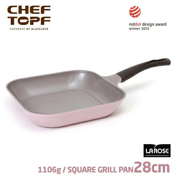 韓國 CHEF TOPF 玫瑰鍋28公分四方型平底鍋(無蓋)