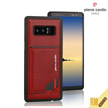 MEEKEE SHOP:[SamsungNote8]PierreCardin法國皮爾卡登6.3吋經典卡袋款磁吸式真皮手機殼紅色