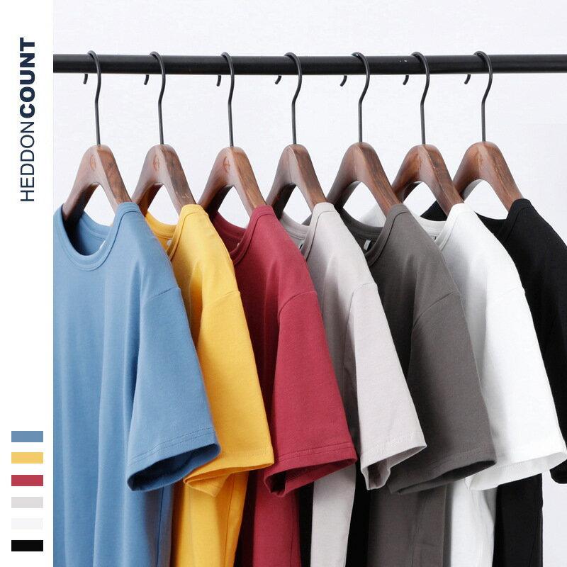 半袖2021新款230G純棉寬鬆日系復古圓領純色男士短袖T恤