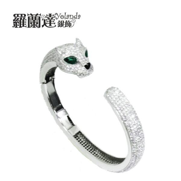 【羅蘭達銀飾】精細微鑲。典雅。銀豹。C型開口。925純銀手環