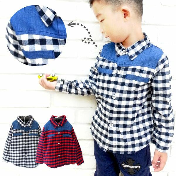 【班比納精品童裝】紅藍小方格襯衫-紅/黑白--兩色可選【BM150730012/BM150730013】