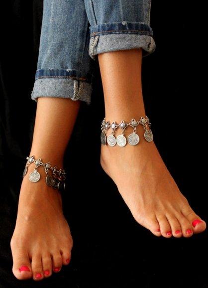 【JP.美日韓】土耳其硬幣安塔利亞手鏈 吉普賽沙灘踝鏈複古流蘇錢幣手鏈 腳鏈
