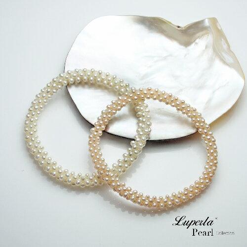 大東山珠寶 浪漫純白 天然珍珠手環 歐美古典編織珠寶 2
