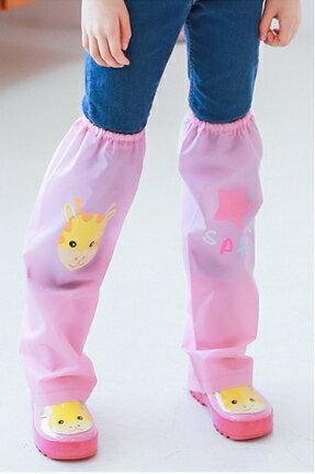 Kocotree◆ 雨天必備時尚可愛防水卡通腳套過膝雨鞋套兒童腿套-小鹿X粉色