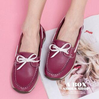 【KBCD-1888】帆船鞋 懶人鞋 休閒鞋 2.5CM跟高 止滑耐磨豆豆底 蝴蝶結PU皮革材質 2色