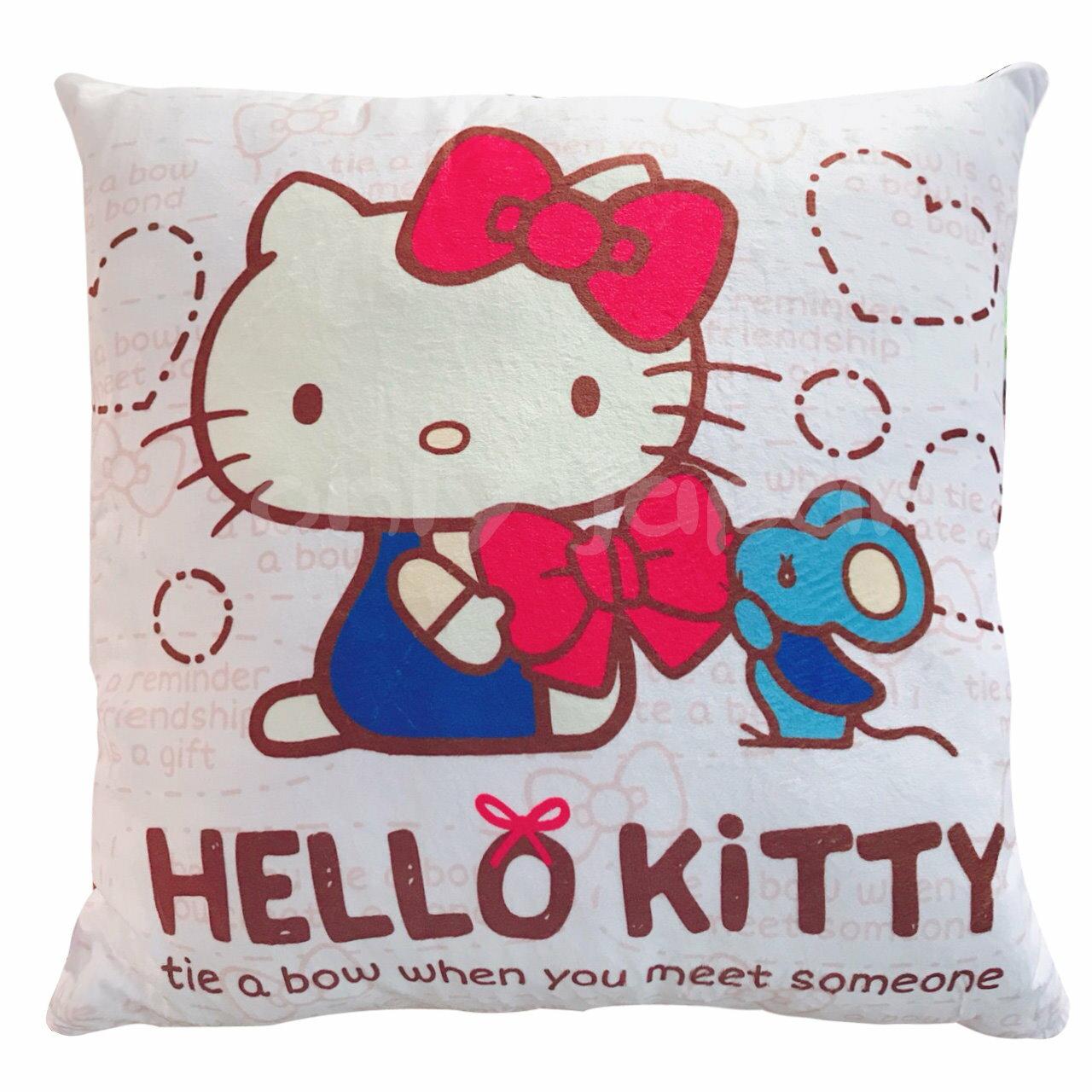 【真愛日本】18050300004 棉柔方抱枕-KT紅結老鼠 三麗鷗 kitty 凱蒂貓 抱枕 枕頭 靠枕 靠墊