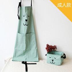 [現貨] 棉麻手繪熊熊烘焙親子圍裙《成人款》