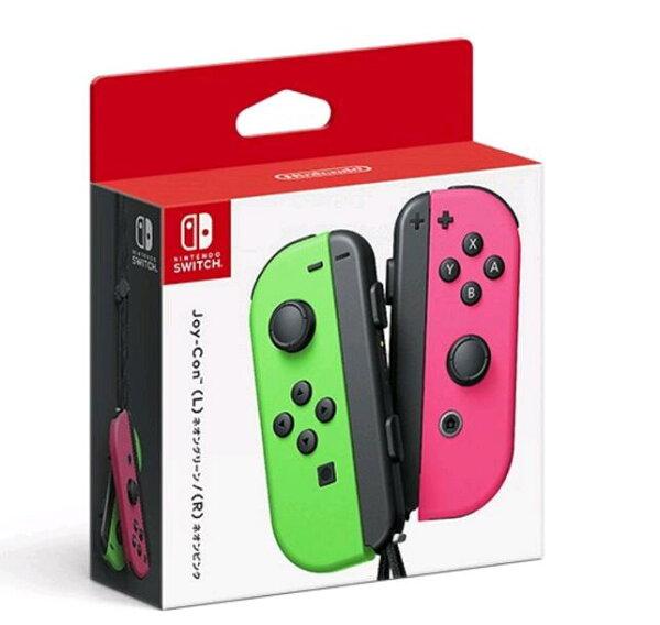 [現金價](公司貨)任天堂漆彈Switch主機NSJoy-Con左右手控制器+LR腕帶桃紅綠色手把