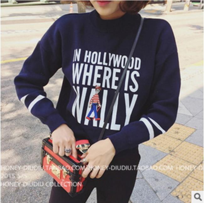 50^%OFF~G017419C~新品寬鬆顯瘦印花套頭衛衣韓國學院風長袖加絨上衣打底衫