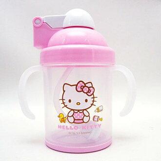 【真愛日本】13073100001 KT防滑自動吸管杯 三麗鷗 Hello Kitty 凱蒂貓 幼兒學習杯 水杯 正品