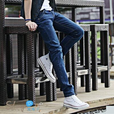 ~全館滿600折60【Y010】shiny藍格子-潮男美型.秋冬款韓版彈力修身直筒小腳牛仔褲