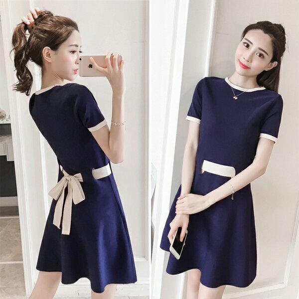 《全店75折》氣質清新收腰鏤空針織連身裙短袖洋裝(3色)-梅西蒂絲(現貨+預購)