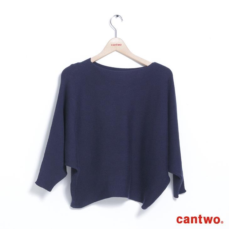cantwo素色船型領蝙蝠袖針織上衣(共二色) 6