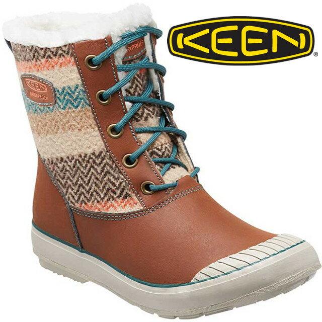 KEEN 中筒雪靴/雪鞋/靴子/雪地靴 ELSA BOOT女款 雪靴163 1015458 淺咖啡/印花