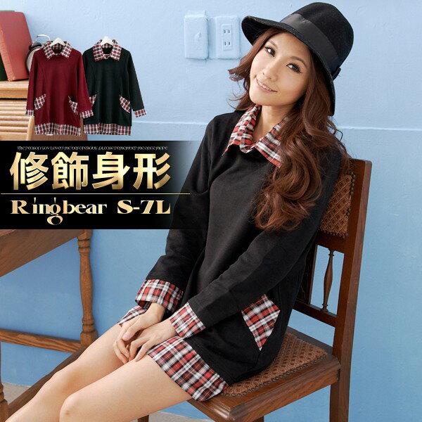 ☆眼圈熊☆A126學院風味.格紋造型修身款假兩件長上衣/洋裝(黑、紅S-2L)
