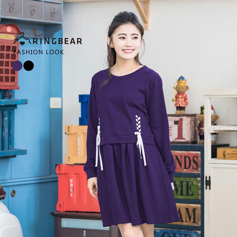 休閒洋裝--元氣活力動感可愛圓領拼接羅紋袖口雙側配色綁帶長袖洋裝(黑.紫XL-5L)-A280眼圈熊中大尺碼 0