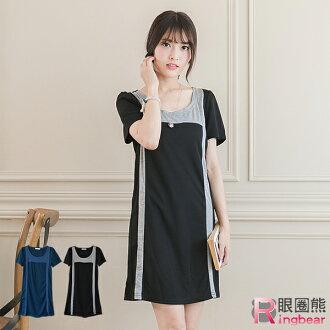 拼接--修身款撞色造型個性合身短袖洋裝/長上衣(黑.藍XL-5L)-D346眼圈熊中大尺碼