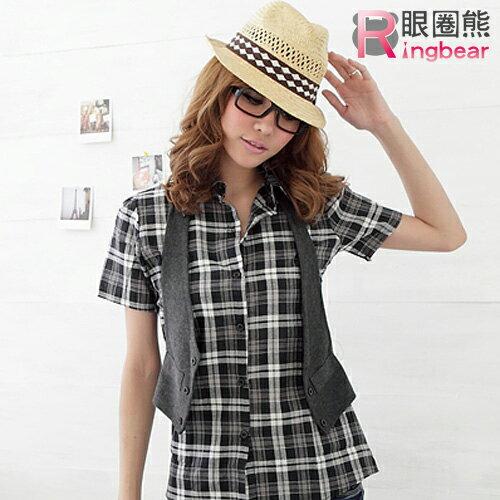 長版襯衫--亮麗休閒真兩件格紋長版襯衫+素面背心(黑.紅M-2L)-H64眼圈熊中大尺碼
